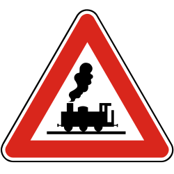 Traffic sign of Slovakia: Warning for a railroad crossing without barriers