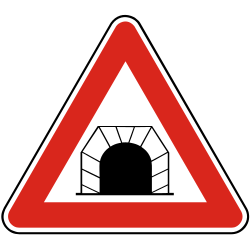 Traffic sign of Slovakia: Warning for a tunnel