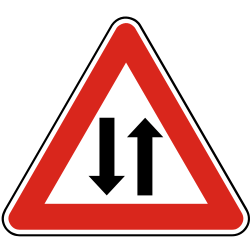 Traffic sign of Slovakia: Warning for a road with two-way traffic