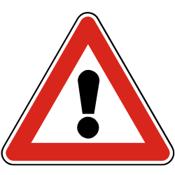 Traffic sign of Slovakia: Warning for a danger with no specific traffic sign