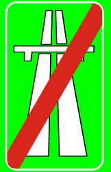 Traffic sign of Turkey: End of the motorway