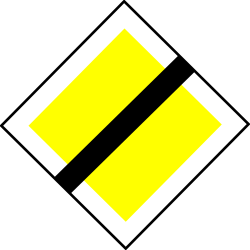 Traffic sign of Turkey: End of the <b>priority road</b>