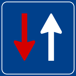 Traffic sign of Turkey: <b>Road narrowing</b>, oncoming drivers have to give way