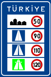 Traffic sign of Turkey: National speed limits