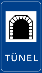 Traffic sign of Turkey: Begin of a tunnel