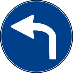 Traffic sign of Turkey: Turning left mandatory