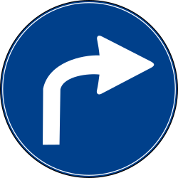 Traffic sign of Turkey: Turning right mandatory