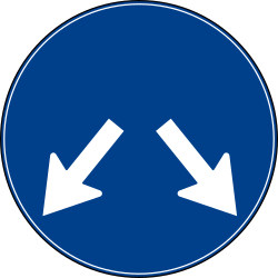 Traffic sign of Turkey: Passing left or right mandatory