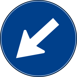 Traffic sign of Turkey: Passing left mandatory