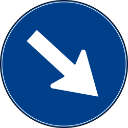 Traffic sign of Turkey: Passing right mandatory