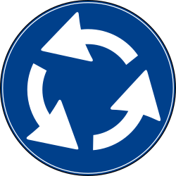 Traffic sign of Turkey: Mandatory direction of the <a href='/en/turkey/overview/roundabout'>roundabout</a>