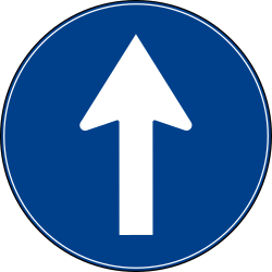 Traffic sign of Turkey: Driving straight ahead mandatory