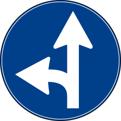 Traffic sign of Turkey: Driving straight ahead or turning left mandatory