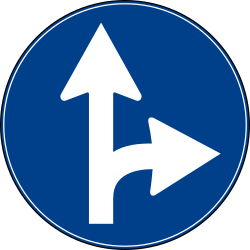 Traffic sign of Turkey: Driving straight ahead or turning right mandatory