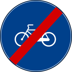 Traffic sign of Turkey: End of the path for cyclists