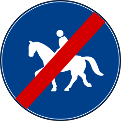 Traffic sign of Turkey: End of the path for equestrians