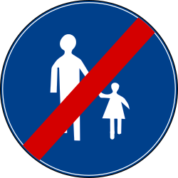 Traffic sign of Turkey: End of the path for pedestrians