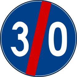 Traffic sign of Turkey: End of the minimum speed