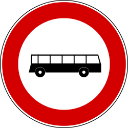 Traffic sign of Turkey: Buses prohibited