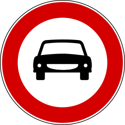 Traffic sign of Turkey: Cars prohibited