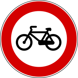 Traffic sign of Turkey: Cyclists prohibited
