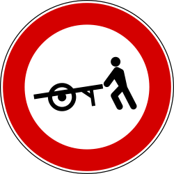 Traffic sign of Turkey: Handcarts prohibited