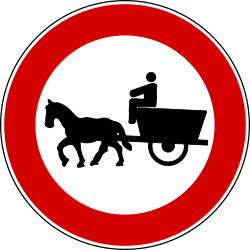 Traffic sign of Turkey: Horse carts prohibited