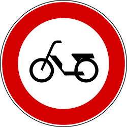 Traffic sign of Turkey: Mopeds prohibited