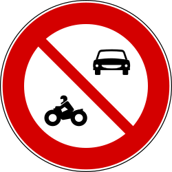 Traffic sign of Turkey: Motorcycles and cars prohibited