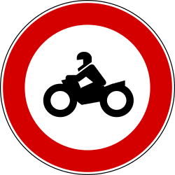 Traffic sign of Turkey: Motorcycles prohibited
