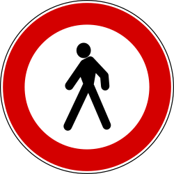 Traffic sign of Turkey: Pedestrians prohibited