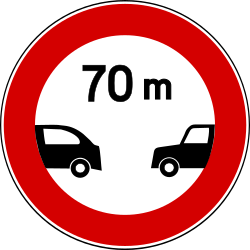 Traffic sign of Turkey: Leaving less distance than indicated prohibited