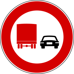 Traffic sign of Turkey: Overtaking prohibited for trucks