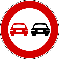 Traffic sign of Turkey: Overtaking prohibited