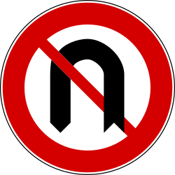 Traffic sign of Turkey: Turning around prohibited (U-turn)
