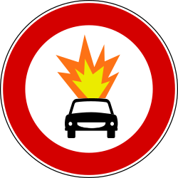 Traffic sign of Turkey: Vehicles with explosive materials prohibited