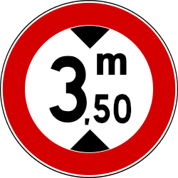 Traffic sign of Turkey: Vehicles higher than indicated prohibited