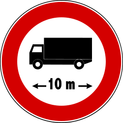 Traffic sign of Turkey: Vehicles longer than indicated prohibited