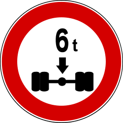 Traffic sign of Turkey: Vehicles with an axle weight heavier than indicated prohibited