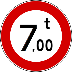 Traffic sign of Turkey: Vehicles heavier than indicated prohibited
