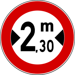 Traffic sign of Turkey: Vehicles wider than indicated prohibited