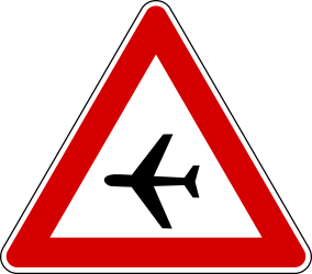 Traffic sign of Turkey: Warning for <b>low-flying</b> <a href='/en/turkey/overview/aircraft'>aircrafts</a>