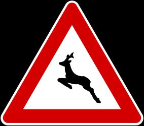 Traffic sign of Turkey: Warning for crossing <a href='/en/turkey/overview/roadkill'>deer</a>