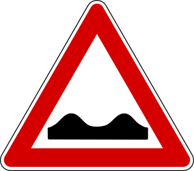 Traffic sign of Turkey: Warning for a <a href='/en/turkey/overview/pothole'>bad road surface</a>