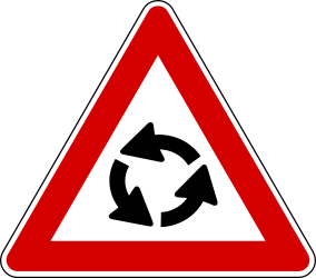 Traffic sign of Turkey: Warning for a roundabout