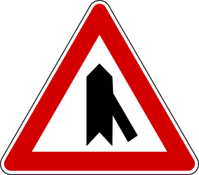 Traffic sign of Turkey: Warning for a crossroad with a sharp side road on the right