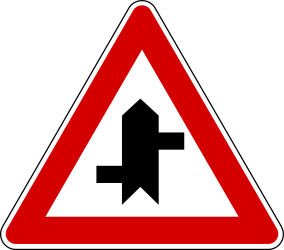 Traffic sign of Turkey: Warning for a crossroad where the roads are not opposite to each other