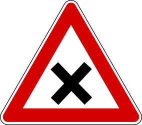 Traffic sign of Turkey: Warning for an uncontrolled crossroad