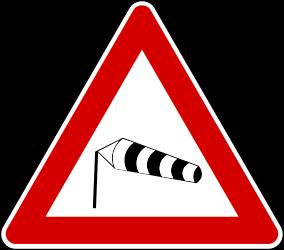 Traffic sign of Turkey: Warning for heavy <a href='/en/turkey/overview/crosswind'>crosswind</a>