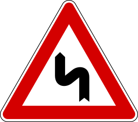 Traffic sign of Turkey: Warning for a <b>double curve</b>, first left then right
